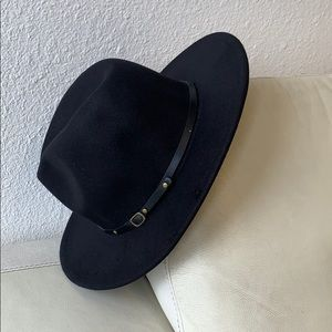 Accessories - Black fedora panama hat with buckle